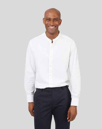 Kragenloses Hemd - Weiß