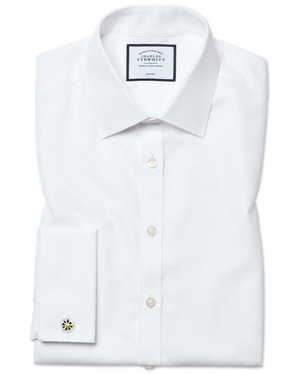 Chemise à motif à effet tirets blanche super slim fit sans repassage