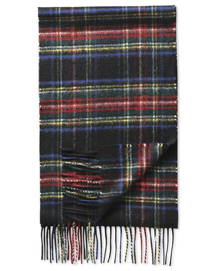 Black tartan cashmere scarf