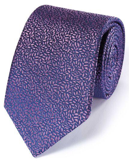 Lilac silk English luxury floral leaf tie