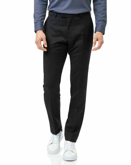 Italian Slim Fit Anzughose mit Natural Stretch in Schwarz