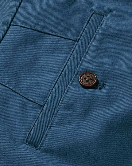 Bright blue slim fit flat front washed chinos