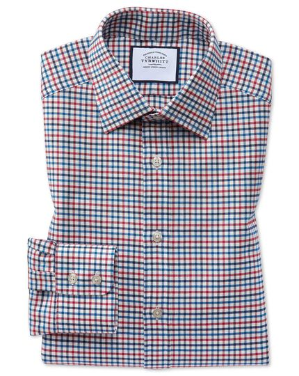 Slim fit red and blue country check shirt