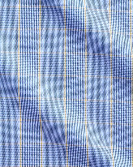 Chemise bleue et or slim fit Prince de Galles sans repassage