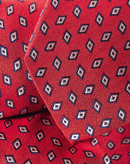 Diamond Geometric Print Tie - Red & Navy