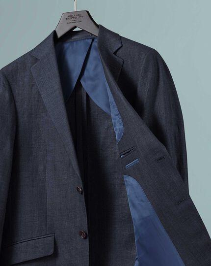Marineblauwe katoenen-linnen jas met klassieke pasvorm