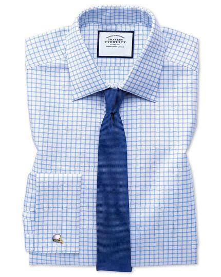 Königsblau Oxfordhemd Extra Slim Fit ägyptische Baumwolle mit Karos in Himmelblau