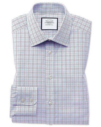 Extra slim fit purple multi check Egyptian cotton shirt