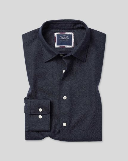 Slim fit navy honeycomb soft washed textured shirt
