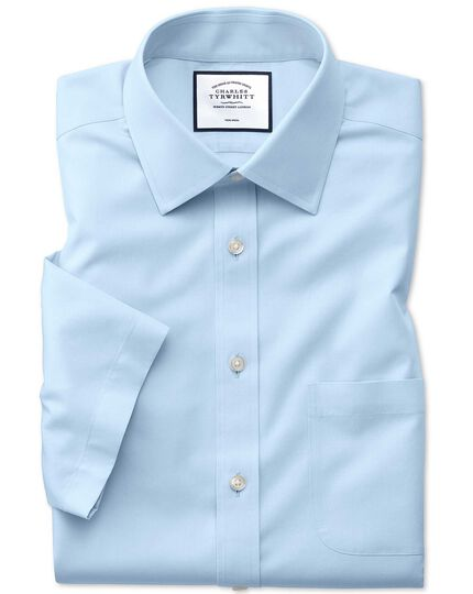 Slim fit non-iron sky blue Tyrwhitt Cool short sleeve shirt