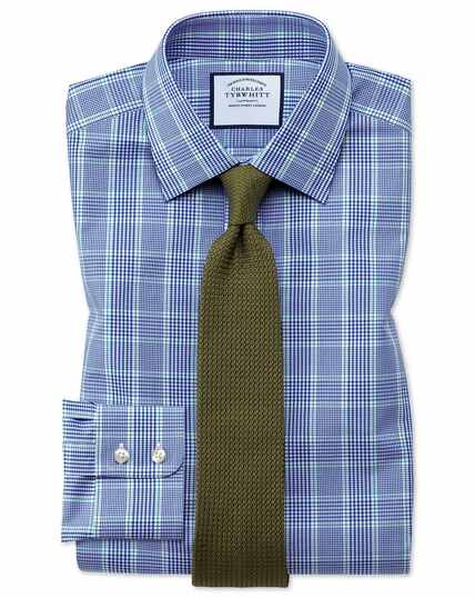 Classic fit Prince of Wales check blue and green shirt
