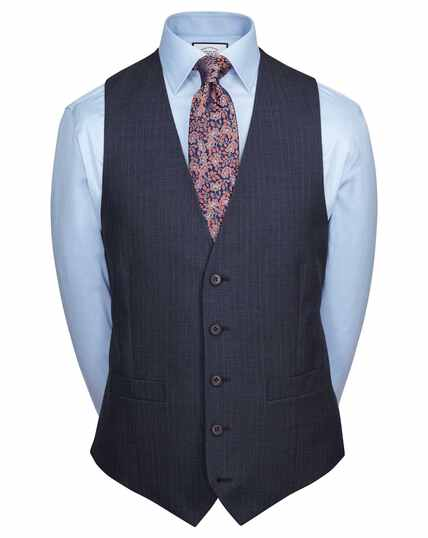 Blue adjustable fit twist business suit waistcoat