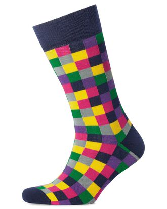 Pink multi check socks