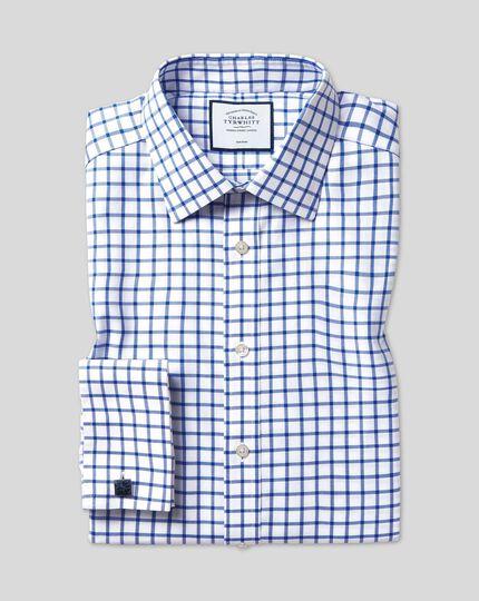 Bügelfreies Twill Hemd mit Kent Kragen und Gitterkaros - Königsblau