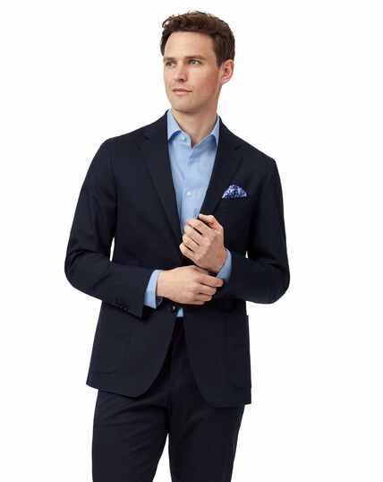 Navy slim fit Italian cotton suit jacket