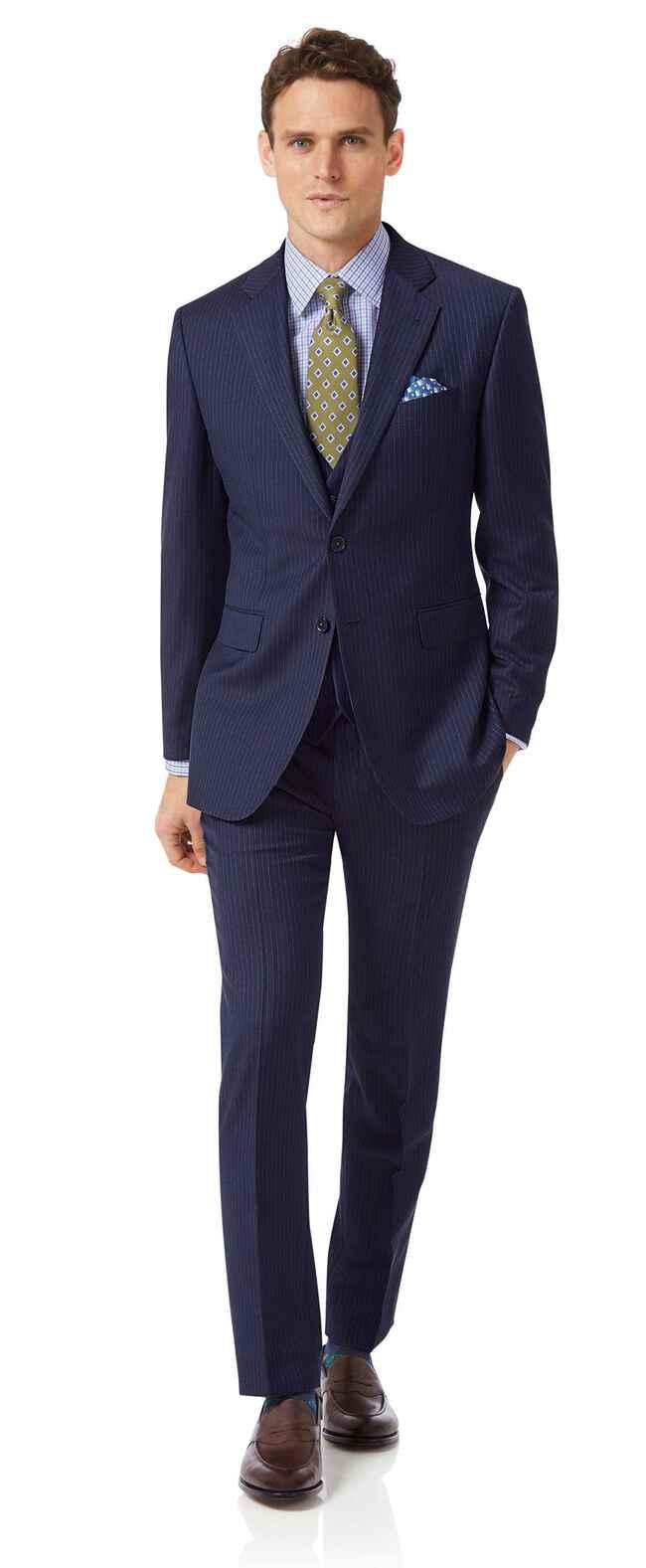 Costume business bleu en twill slim fit à rayures