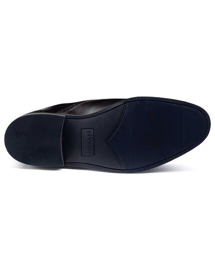 Black Goodyear welted double buckle monk performance shoe
