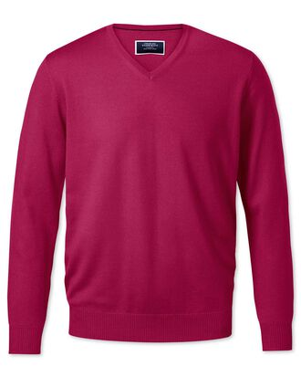 Dark pink v-neck merino jumper