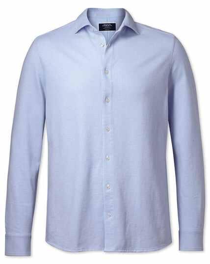 Sky blue puppytooth textured jersey shirt