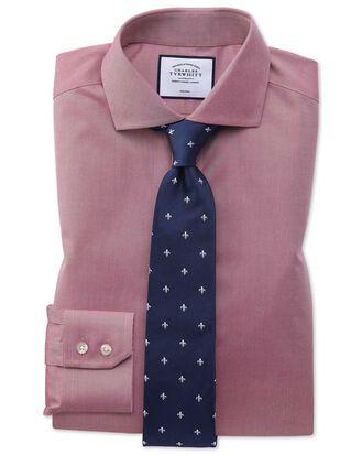 Slim fit non-iron spread collar red twill shirt