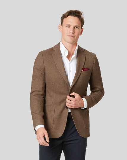 Italian Herringbone Jacket - Tan