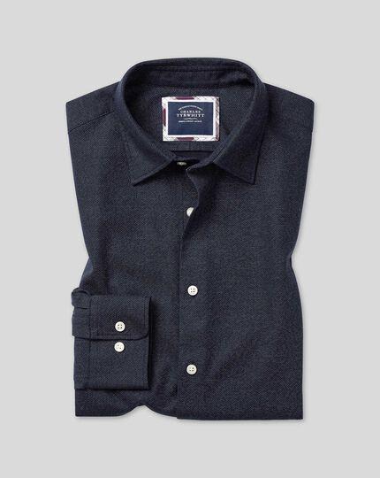 Vorgewaschenes Hemd mit Kent Kragen und Wabenmuster - Marineblau