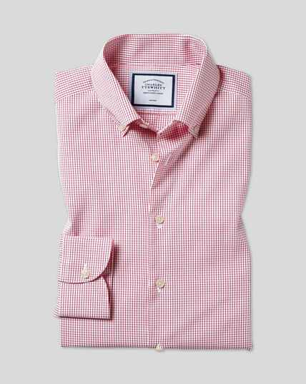 Button-Down Collar Non-Iron Check Shirt - Red