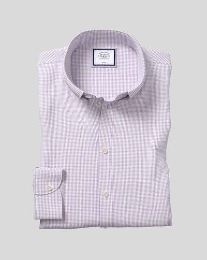 Button-Down Collar Non-Iron Check Shirt - Purple