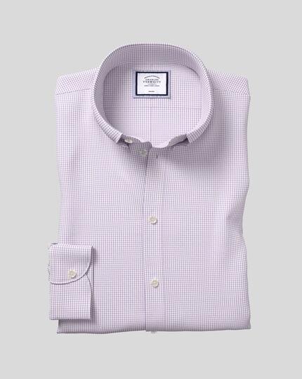 Button-Down Collar Non-Iron Check Shirt - Purple