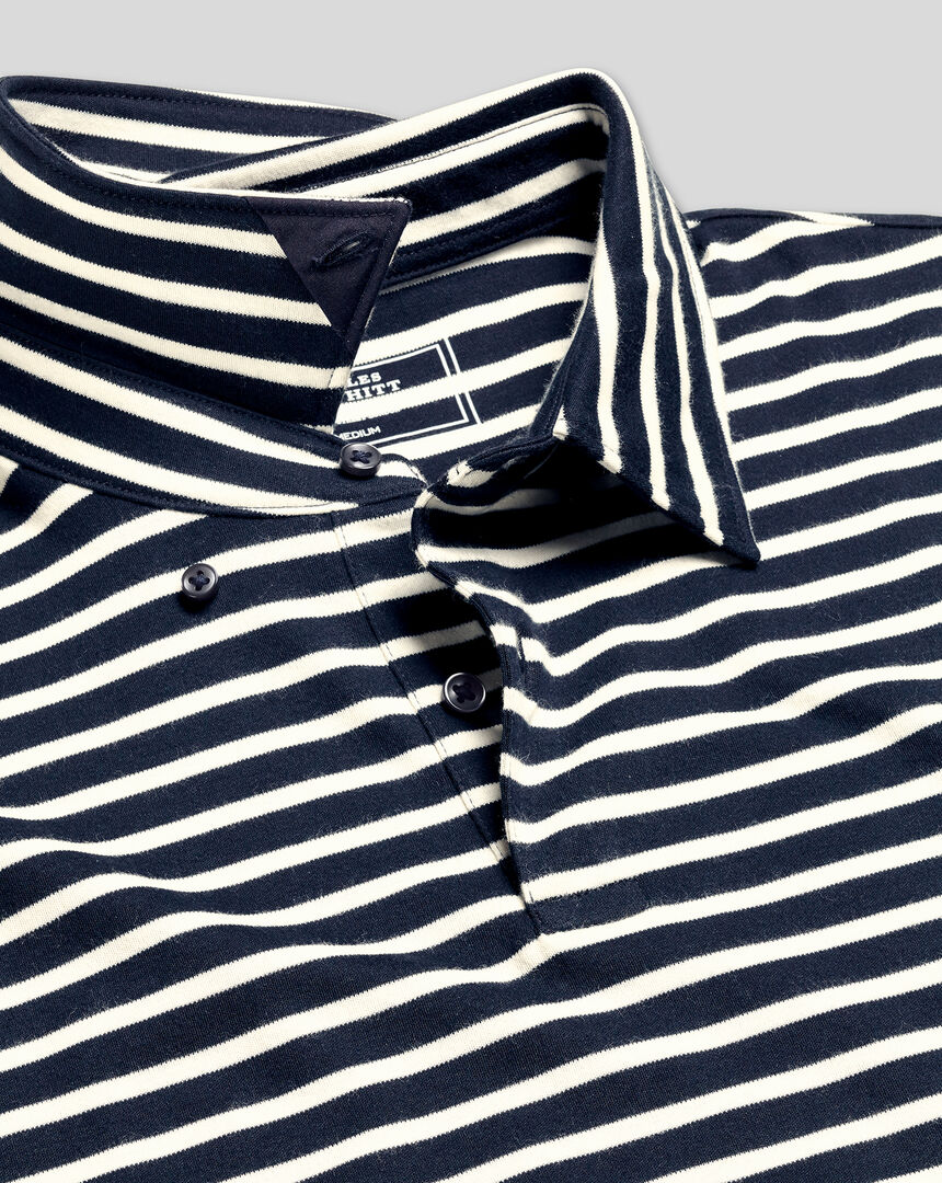 Smart Jersey Stripe Polo - Navy & Ecru