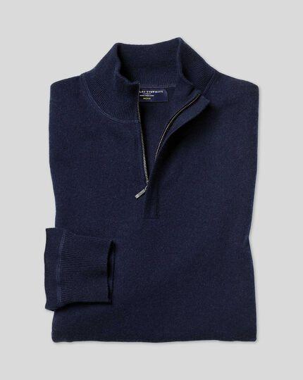 Merino-Kaschmir-Pullover mit Reißverschlusskragen - Marineblau