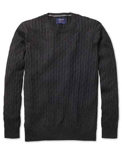 Charcoal cotton cashmere cable crew neck sweater