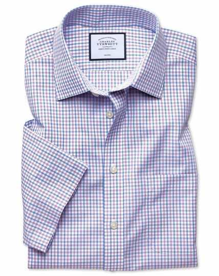 Kurzärmeliges Popelinehemd Classic Fit Bügelfrei Tyrwhitt Cool mit Karos in Lila & Himmelblau