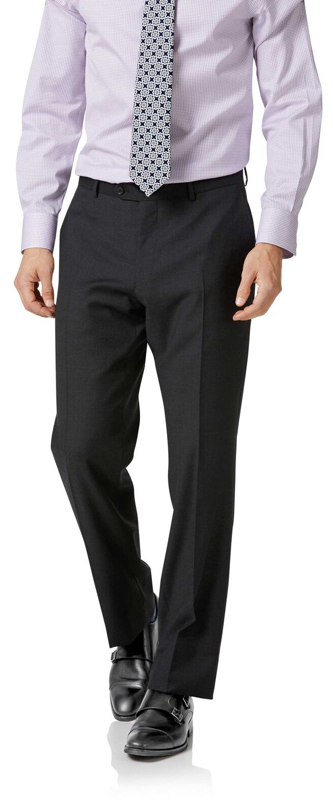 Charcoal twill classic fit business suit