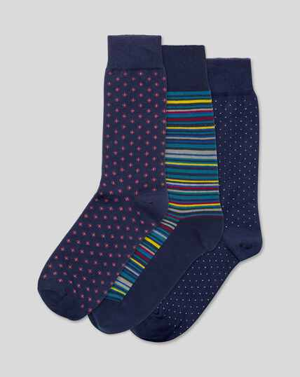 Multi Pattern 3 Pack Socks - Navy Multi