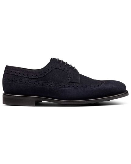 Dark navy suede Goodyear welted Derby wing tip brogue shoes