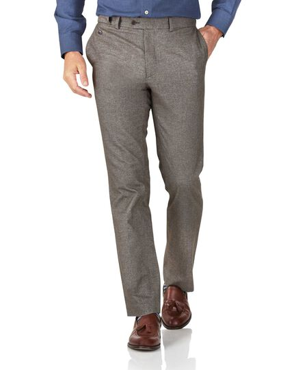 Light brown slim fit cotton flannel herringbone trousers