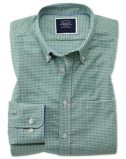 Slim fit dark green gingham soft washed non-iron stretch shirt