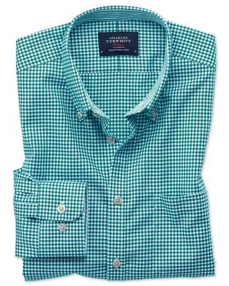 Classic fit button-down non-iron Oxford gingham green shirt