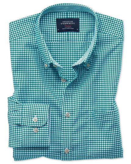 Slim fit button-down non-iron Oxford gingham green shirt