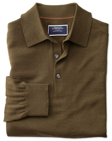 Olive polo collar merino sweater