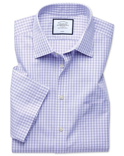 Classic fit non-iron Tyrwhitt Cool poplin short sleeve purple check shirt