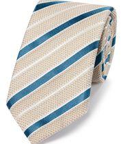Cravate beige en luxueux mélange de grenadine et de soie italiennes à rayures
