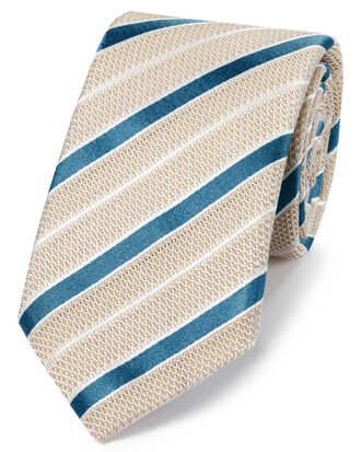 Stone silk mix grenadine stripe Italian luxury tie