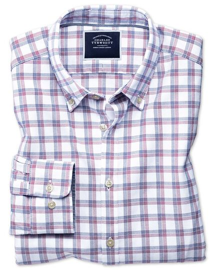 Extra slim fit red and navy check washed Oxford shirt