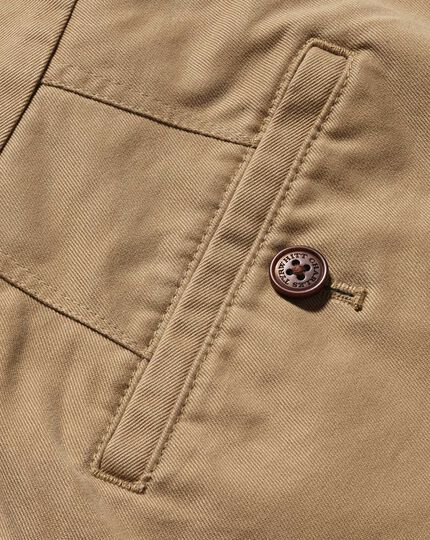 Tan classic fit flat front washed chinos