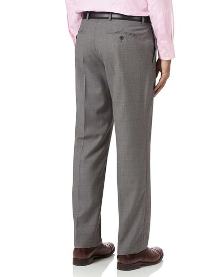 Silver classic fit cross hatch weave italian suit pants