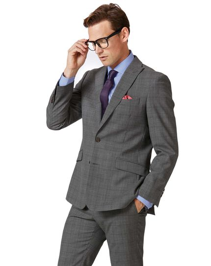 b951367648ff Light grey check slim fit twist business suit jacket | Charles Tyrwhitt