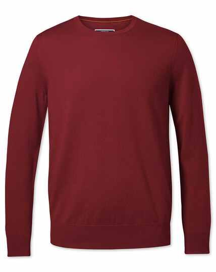Dark red merino crew neck jumper