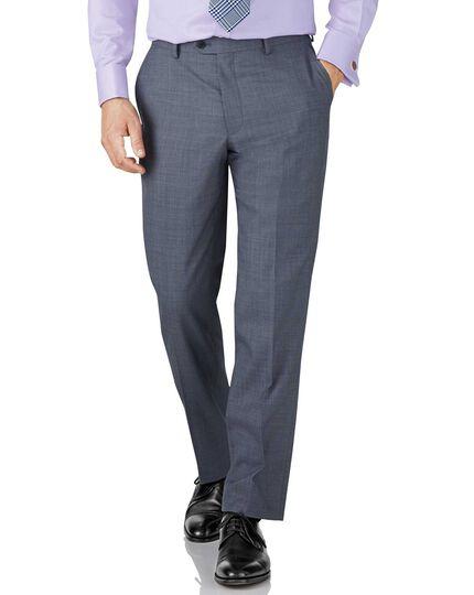 Light blue classic fit sharkskin travel suit trousers
